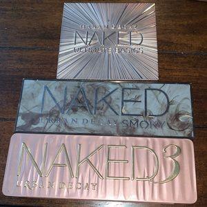 Naked 3 $20- Naked Smoky $25 - Naked Basics $25